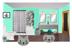 """cat bath"" by sterlingkitten on Polyvore featuring interior, interiors, interior design, home, home decor, interior decorating, INC International Concepts, Jonathan Adler, Pier 1 Imports and Muji"