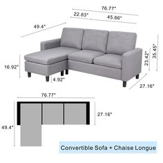 JY QAQA Sectional Sofa Couch Convertible Chaise Lounge, Modern Sofa Set for Living Room, L-Shaped Couch with Linen Fabric for Small Space, Grey Small Couches Living Room, Design Living Room, Living Room Sets, L Sofas, Sectional Sofa, Convertible, L Shaped Couch, Luxury Sofa, Modular Sofa