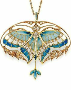 Art Nouveau Gold, Plique-à-Jour Enamel, and Diamond Pendant/Brooch, Henri Vever Paris. Designed as a butterfly with plique-à-jour enamel wings and bezel-set old mine-cut diamonds, framed by foliate motifs set with old mine- and rose-cut diamonds Bijoux Art Nouveau, Art Nouveau Jewelry, Jewelry Art, Jewelry Design, Gold Jewelry, Jewelry Crafts, Diamond Jewelry, Jewelry Necklaces, Design Art Nouveau