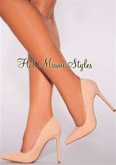 8e2af52919c5bb Nude Faux Suede Point Toe High Heel Pumps