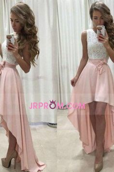 2017 Simple Style Prom Dresses Scoop Lace Bodice With Asymmetrical Skirt US$ 109.99 JRPSHL4BJR - JrProm.com for mobile
