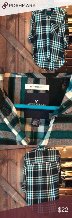 American eagle - women's boyfriend fit plaid small American eagle women's boyfriend fit small plaid shirt. EUC. Still has plastic from tag, only worn a few times. Green/teal, black and white American Eagle Outfitters Tops Button Down Shirts