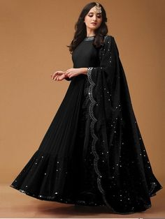 Style Array Present Bollywood Black Color Georget With Foil Print Fancy Thred Work Gown buy - Bollywood Black Color Georget With Foil Print Fancy Thred Work Gown Party Wear Indian Dresses, Indian Gowns Dresses, Indian Wedding Outfits, Indian Outfits, Black Bridal Dresses, Shadi Dresses, Black Indian Gown, Dress Indian Style, Lehenga Designs