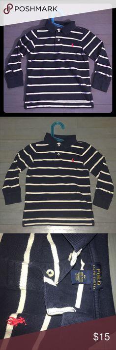 Polo Ralph Lauren navy white stripe pique polo Polo Ralph Lauren navy blue pique long sleeve polo with white stripes Polo by Ralph Lauren Shirts & Tops Polos
