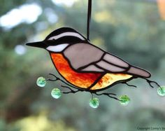 Red Breasted Nuthatch Pair Birds Stained Glass Wall by BerlinGlass