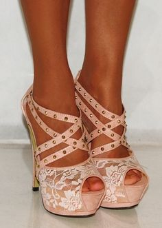Nude Lace Strappy Studs Stiletto Platforms High Heels - LoveItSoMuch.com
