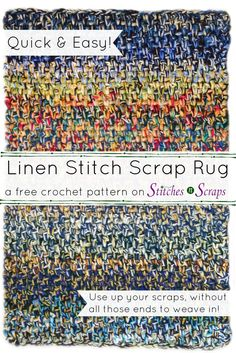 Use up all your yarn scraps in this Linen Stitch Scrap Rug! It's thick, soft, and squishy, and designed to use up lots of yarn, very quickly, without weaving in a lot of ends. Get the free pattern on Stitches n Scraps.
