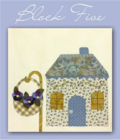 """Country Cottages Block 5 Kit: **Please note, this kit is for Block 5 only.**  Block 5 of Country Cottages.  Block finishes to 12"""" x 12"""".  Kit includes all top fabrics, embroidery floss, and buttons.  The pattern is not included, but is available separately below and includes instructions for all 12 blocks."""