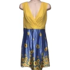 Betsey Johnson Sz 0 Yellow Blue Floral Silk Dress Betsey Johnson Sz 0 Yellow Blue Floral Silk DressBust 32-34 Missing beltExcellent Used Condition Betsey Johnson Dresses
