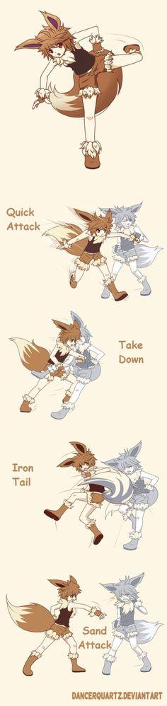 Pokemon Eevee - Gijinka Moves by DancerQuartz.deviantart.com on @DeviantArt