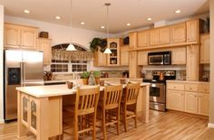 Kitchen Design, Attractive Kitchen Room Ideas Combining With Natural Wood Cabinet As Well As Light Maple Kitchen Cabinets Completed With Laminated Wood Flooring Inspirations: Best Cooking Experience with Light Maple Kitchen Cabinets