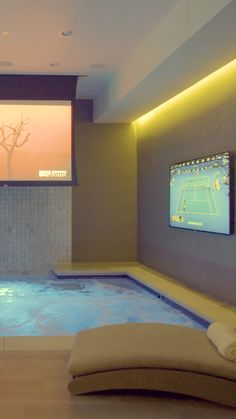 Luxurious home spa and theater – waterfall, whirlpool, sauna, shower, fitness room and lounge seating - Home Theaters Home Theater Design, Home Room Design, Dream Home Design, Modern House Design, Home Interior Design, Luxury Home Designs, Modern Mansion Interior, Private Jet Interior, Home Theater Rooms
