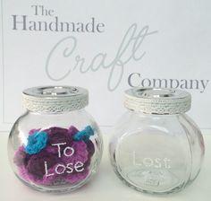 Weight loss jars, move the crochet tokens from 'to lose' to 'lost' to watch your progress