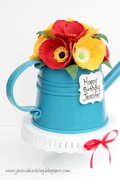 Jessicakes: A watering can cake tutorial Cute Cakes, Fancy Cakes, Pretty Cakes, Gorgeous Cakes, Amazing Cakes, Fondant Cakes, Cupcake Cakes, Fondant Bow, 3d Cakes