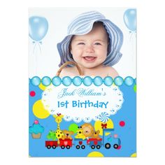 Train Birthday Party Invitations Baby Boy First Birthday 1st Train Blue Card