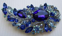 Vintage Brooch/Pin large blue crystals found on etsy for just $19.00 !  shhhhhhhh