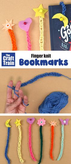 Quick and easy finger knit bookmark craft for kids. These make lovely handmade gift ideas and are so fun and simple for kids of all ages. Finger Knitting Projects, Knitting For Kids, Knitting Tutorials, Free Knitting, Bookmark Craft, Bookmarks Kids, Yarn Crafts For Kids, Craft Projects For Kids, Finger Crochet