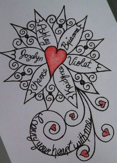 Sketch for a tattoo for forearm. It incorporates the names of my daughters and my grandchildren. by Laurie Sherman (Urban Crone)