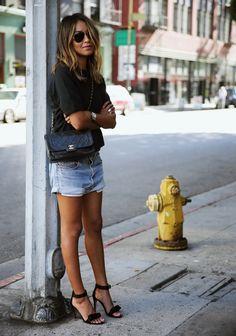 SINCERELY JULES 'Cara' short sleeve sweatshirt, VINTAGE LEVI's denim shorts, CELINE sandals, VINTAGE CHANEL bag