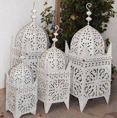 Moroccan Lanterns Boho Candle Holder,White Moroccan Candle Lanterns , Moroccan Lantern , Moroccan decor , Moroccan lamps, Garden Lantern