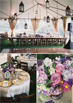 Gold and purple wedding tent decor