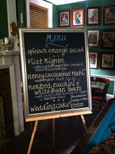Blackboard menu Blackboard Menu, Mango Salad, Fruit Salsa, Blackboards, White Beans, Chalk Art, Bliss, Wedding Cakes, Wedding Inspiration