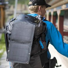 foldable solar panel attaches to backpack