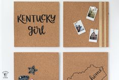 Learn how to decorate cork tiles to create a DIY cork board. Makes a cute memo board for a dorm room or kids room. #DIY #corkboard #cricut Diy Cork Board, Cork Boards, Dorm Room Crafts, Craft Room Decor, Homemade Wall Decorations, Room Decorations, Crafts For Teens, Diy And Crafts, Polka Dot Chair