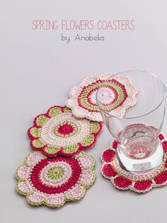 Spring flowers coasters pattern by Anabelia