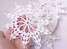 Hanging crochet snowflake - gift for Christmas. The price is for ONE SNOWFLAKE. The snowflake is crocheted using cotton yarn and starched. The diameter of snowflake is approximately 14.5 cm (5.7). All my items were made in a pet-free and smoke-free environment. If you would like me to