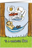 Humorous Father's Day Card for Son - Relaxed Dad in Hammock