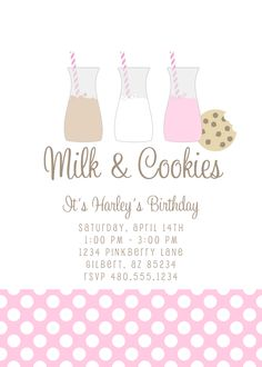 Milk and Cookies Printable  Invitation: Birthday or Baby Shower...so sweet