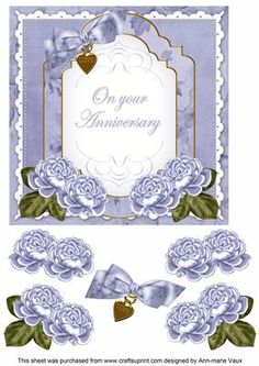 PBlue Rose Anniversary Fancy 7in Decoupage Topper on Craftsuprint - Add To Basket!