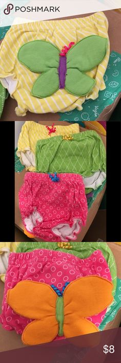 3 pack bloomers Cute bloomers / diaper covers with butterfly detail on back. EUC - washed but not worn. Smoke and pet free home. Baby Aspen Accessories Diaper Covers