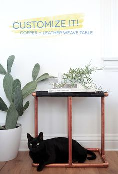 Customize It: Copper   Leather Weave Table
