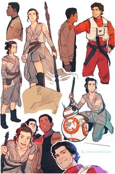 """More TFA sketches (Poe's face is too good for me)"" - Rey, Finn, Poe, Kylo Ren, and BB-8 from Star Wars"