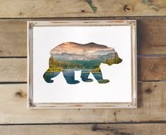 Bear Silhouette with Lake & Forest Trees Printable Wall Art Woodland Nursery…
