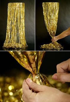 DIY Gold Fringe Chandelier- Perfect for a Mexican Fiesta OR Moroccan Nights Themed Party! 1920s Party, Great Gatsby Party, Nye Party, Gold Party, Gold Diy, Arabian Nights Party, Disco Theme, Prom Decor, Diy Chandelier