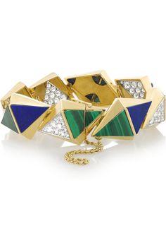 Fred Leighton|Bracelet en or 18carats et pierres multiples des années70(malachite, lapis et diamant pavé)