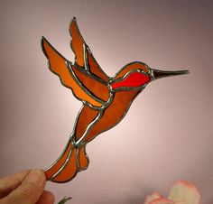 Hummingbird Ruby Throated by StainedGlassbyWalter on Etsy, $18.95
