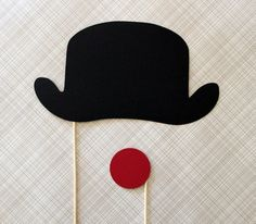Photo Booth Party Prop. Photobooth Circus Derby Bowler Hat and Clown Nose on a Stick