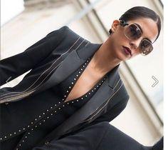 Spanish actress, model and TV presenter Rocio Munoz Morales wearing Roberto Cavalli Eyewear (RC 910S) while in Milan, as seen on Rendez Vous de la Mode: