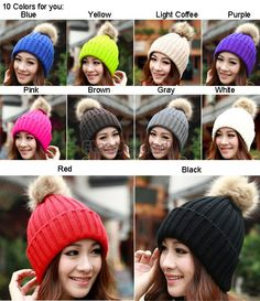 Cheap hat activities for children, Buy Quality hat animal directly from China hat beanie Suppliers:  New Women's Knit Cap Beanie Hat With Fur Winter Slouch Ela