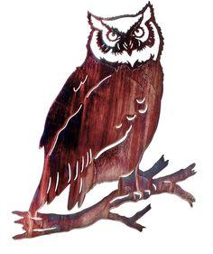 Great Horned Owl Laser Cut Metal Wall Art