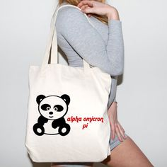 Alpha Omicron Pi Tote   Something Greek   #AlphaOmicronPi #AOPi #sorority #clothing #tote #panda #mascot #greeklife #somethinggreek