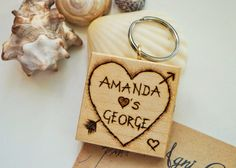 Pyrography Wooden Keyring  Carved Heart by AgniPrasadaBurning