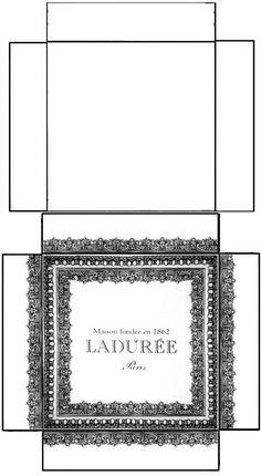 Boîte Ladurée - rajouter les languettes pour coller les côtés (voir modèle doré) - à imprimer sur bristol de couleur. ..♥.Nims.♥