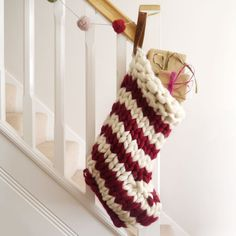 Chunky Knit Striped Christmas Stocking - Red and White Candy-stripe - hand knit christmas stockings