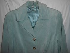 ANN TAYLOR Blazer Jacket 100% SUEDE LEATHER Women Size 6 Green Fitted Lined  #AnnTaylor #Blazer #GreenSuede