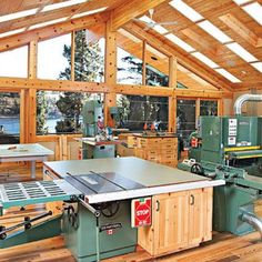 Woodworking Shop From the outside, Mike Walker's workshop looks like a well-appointed lakeside retreat . It looks like that on the inside too--except for all the woodworking tools. Workshop Layout, Workshop Plans, Workshop Studio, Workshop Design, Home Workshop, Garage Workshop, Workshop Ideas, Woodworking Workshop, Woodworking Crafts